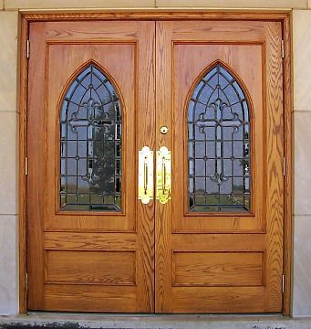 Custom doors stained glass art glass wood doors church doors church windows cabinet doors for Exterior glass doors for churches